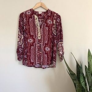 TINY Anthro Red Paisley Top Blouse Gold Women's M